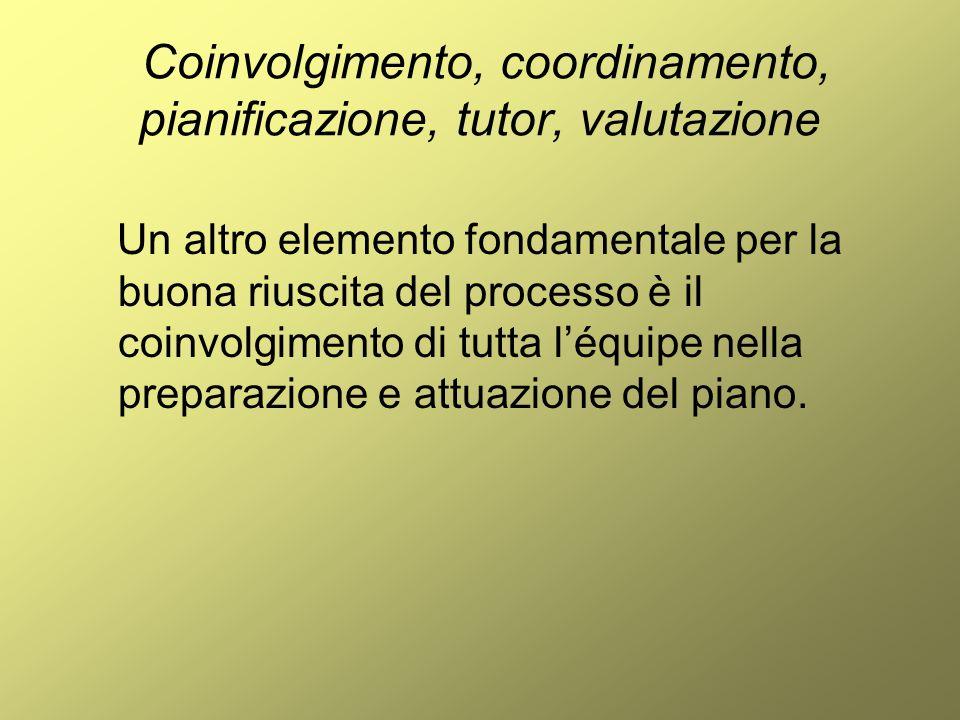 Coinvolgimento, coordinamento, pianificazione, tutor, valutazione