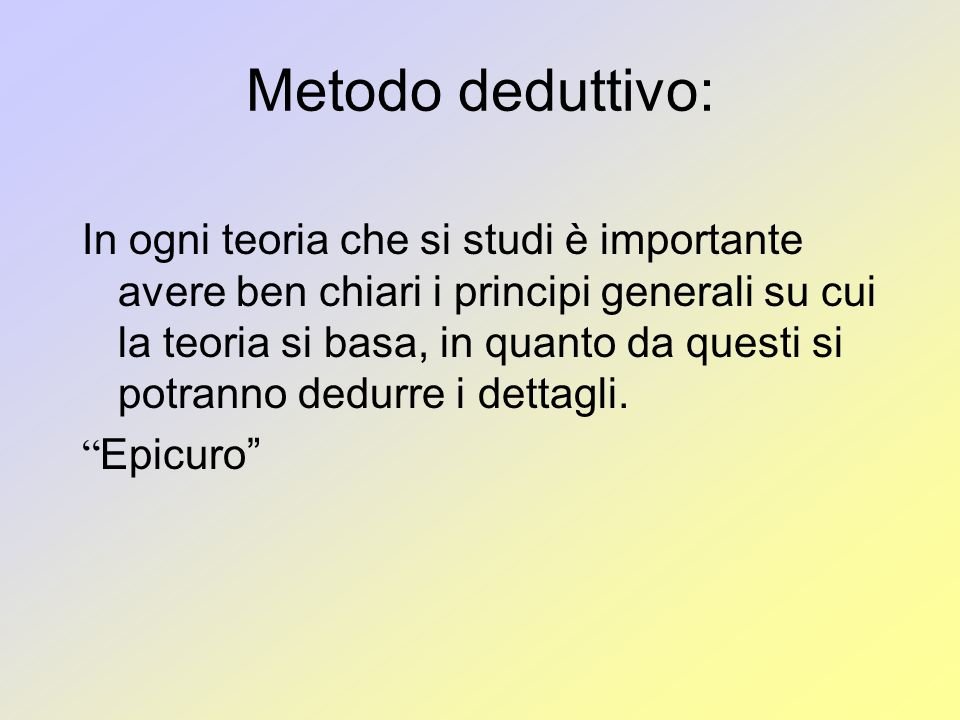 Metodo deduttivo: