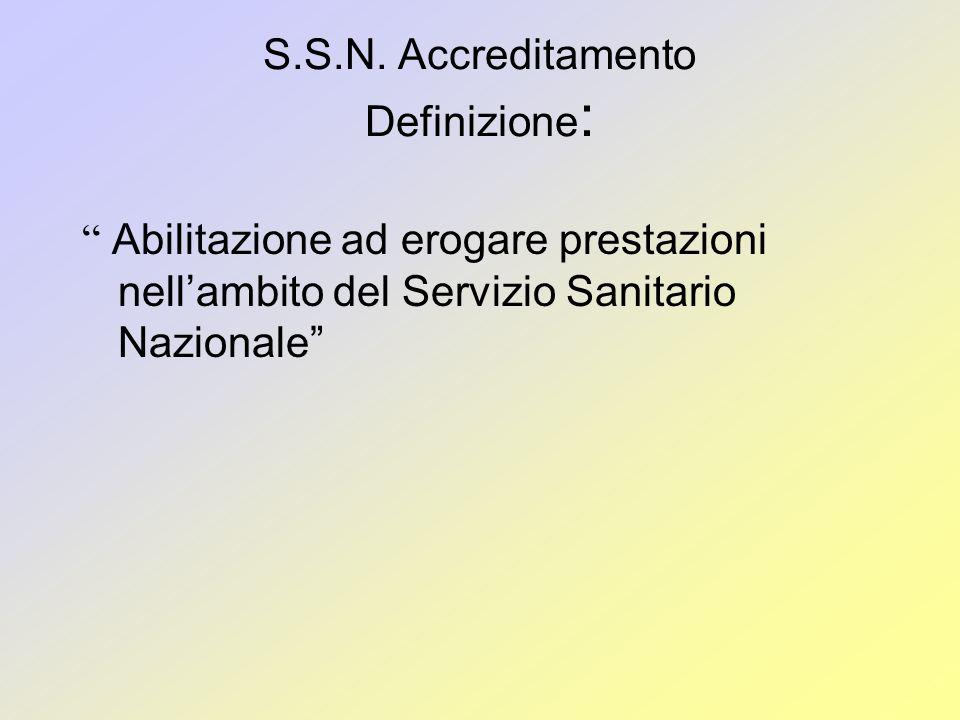 S.S.N. Accreditamento Definizione: