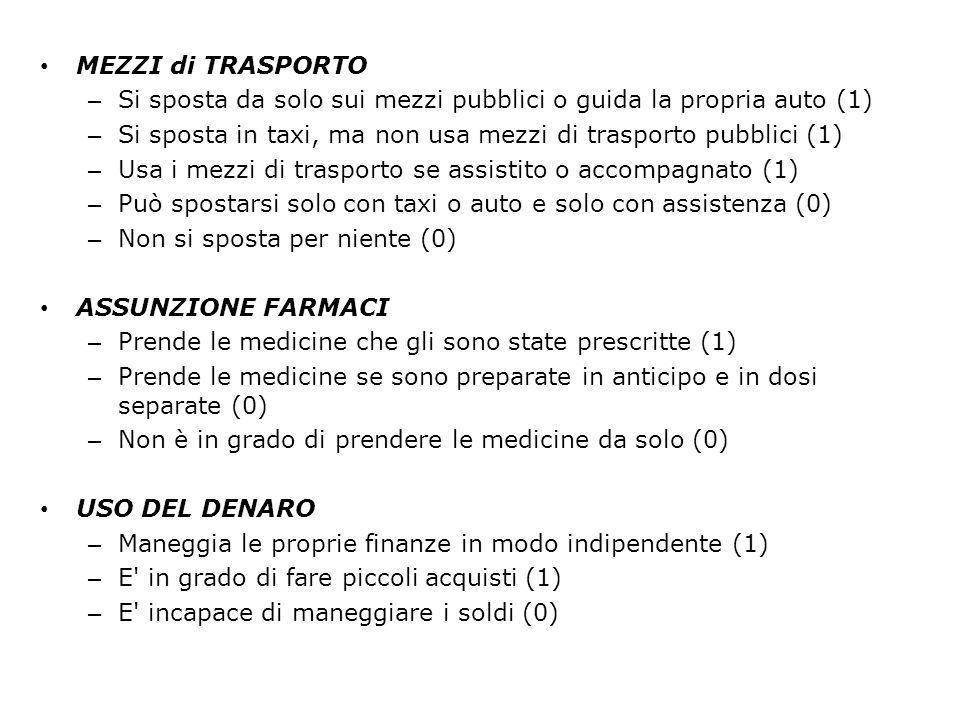 MEZZI di TRASPORTO Si sposta da solo sui mezzi pubblici o guida la propria auto (1) Si sposta in taxi, ma non usa mezzi di trasporto pubblici (1)