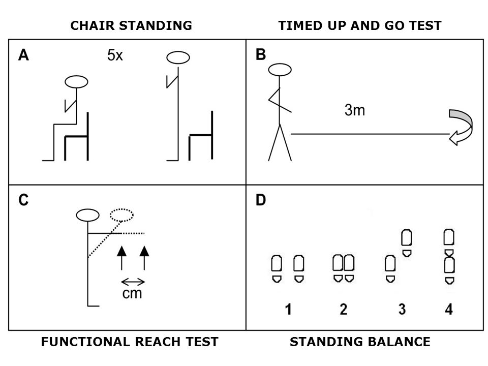 CHAIR STANDING TIMED UP AND GO TEST FUNCTIONAL REACH TEST STANDING BALANCE