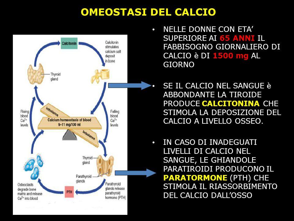 OMEOSTASI DEL CALCIO NELLE DONNE CON ETA' SUPERIORE AI 65 ANNI IL FABBISOGNO GIORNALIERO DI CALCIO è DI 1500 mg AL GIORNO.