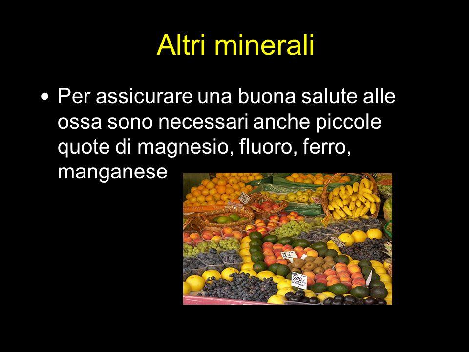 Altri minerali Per assicurare una buona salute alle ossa sono necessari anche piccole quote di magnesio, fluoro, ferro, manganese.