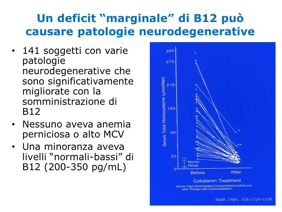Un deficit marginale di B12 può causare patologie neurodegenerative
