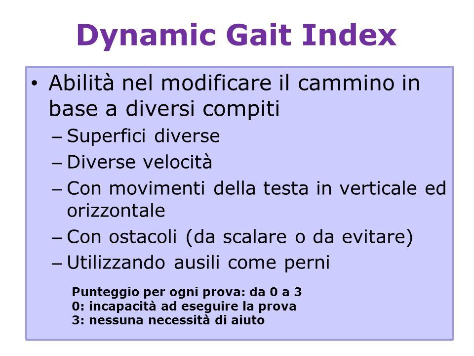 Dynamic Gait IndexAbilità nel modificare il cammino in base a diversi compiti. Superfici diverse. Diverse velocità.