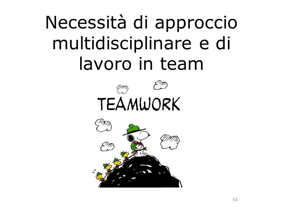 Necessità di approccio multidisciplinare e di lavoro in team