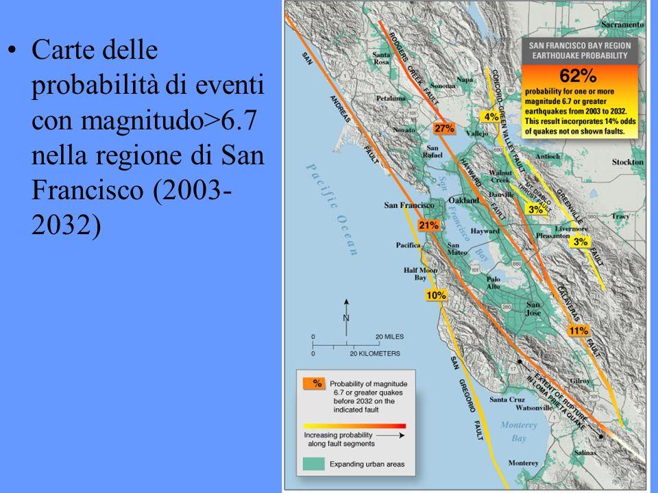Carte delle probabilità di eventi con magnitudo>6