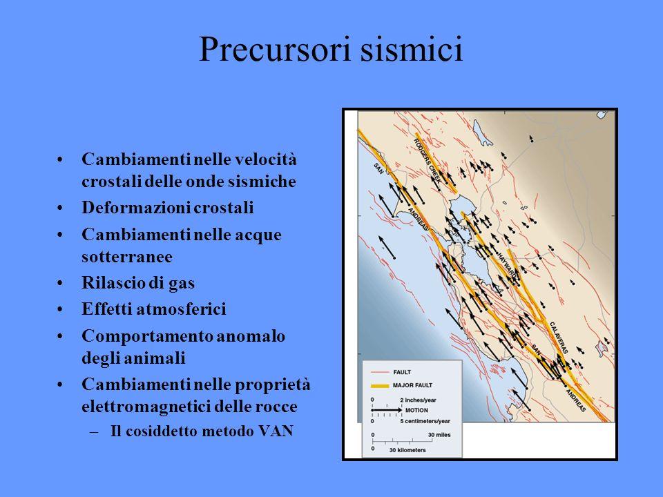 Precursori sismici Cambiamenti nelle velocità crostali delle onde sismiche. Deformazioni crostali.