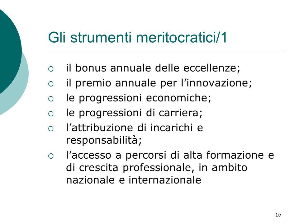 Gli strumenti meritocratici/1