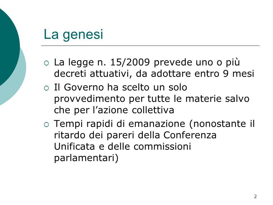 La genesi La legge n. 15/2009 prevede uno o più decreti attuativi, da adottare entro 9 mesi.