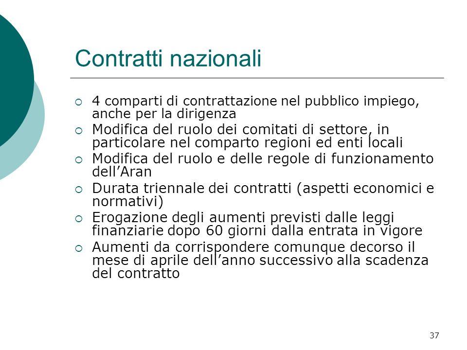 Contratti nazionali 4 comparti di contrattazione nel pubblico impiego, anche per la dirigenza.