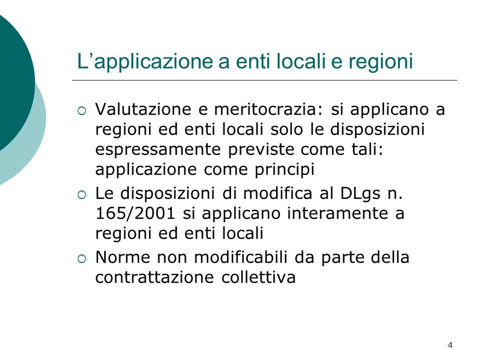 L'applicazione a enti locali e regioni