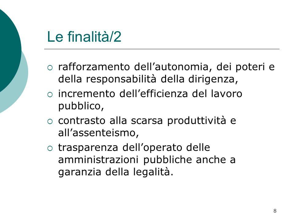 Le finalità/2 rafforzamento dell'autonomia, dei poteri e della responsabilità della dirigenza, incremento dell'efficienza del lavoro pubblico,