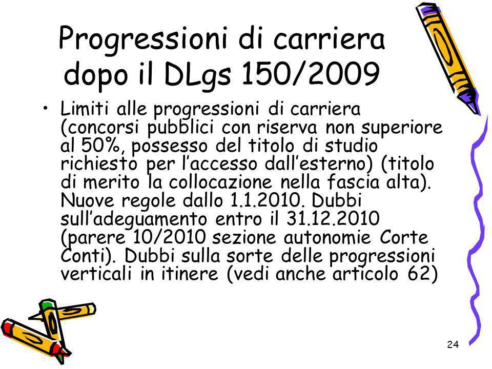 Progressioni di carriera dopo il DLgs 150/2009