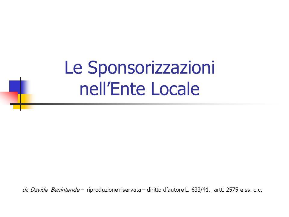 Le Sponsorizzazioni nell'Ente Locale