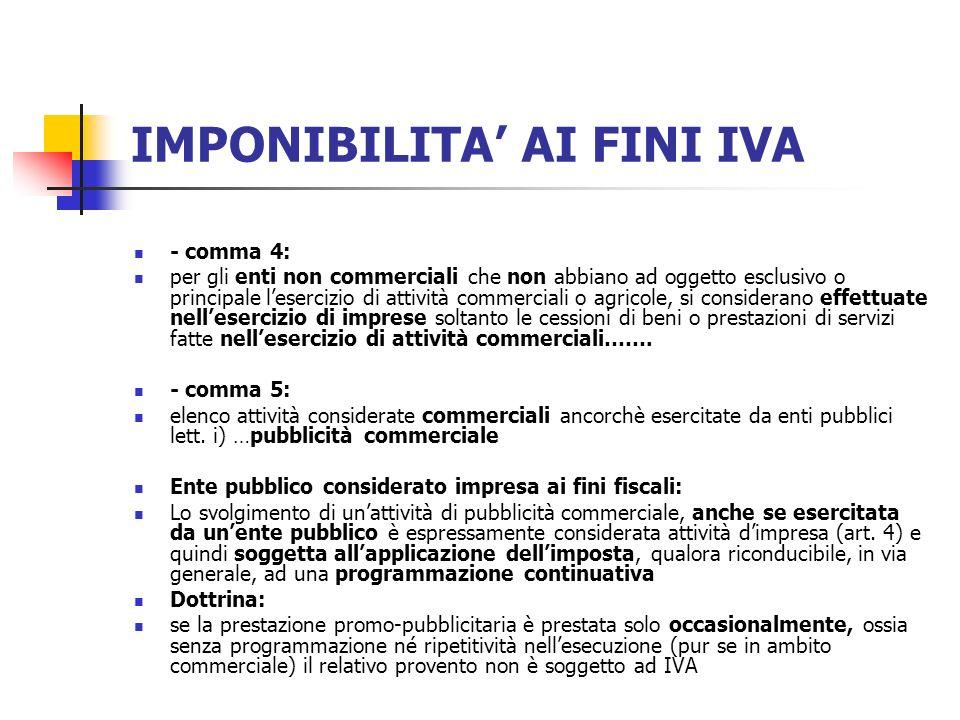 IMPONIBILITA' AI FINI IVA