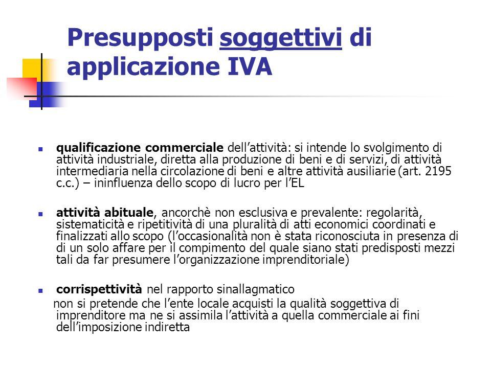 Presupposti soggettivi di applicazione IVA