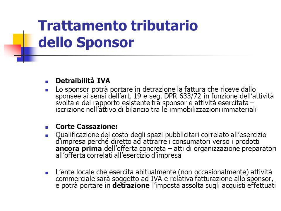 Trattamento tributario dello Sponsor