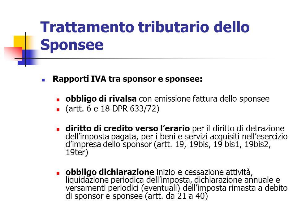 Trattamento tributario dello Sponsee