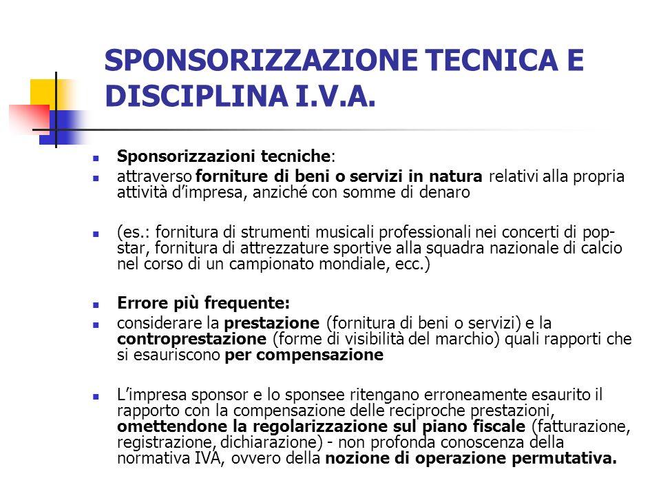 SPONSORIZZAZIONE TECNICA E DISCIPLINA I.V.A.