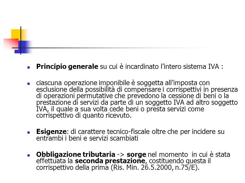Principio generale su cui è incardinato l'intero sistema IVA :