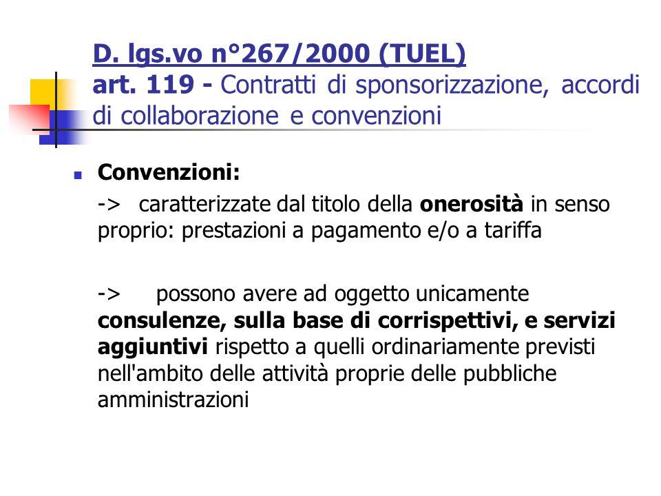 D. lgs.vo n°267/2000 (TUEL) art. 119 - Contratti di sponsorizzazione, accordi di collaborazione e convenzioni