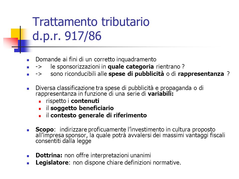 Trattamento tributario d.p.r. 917/86
