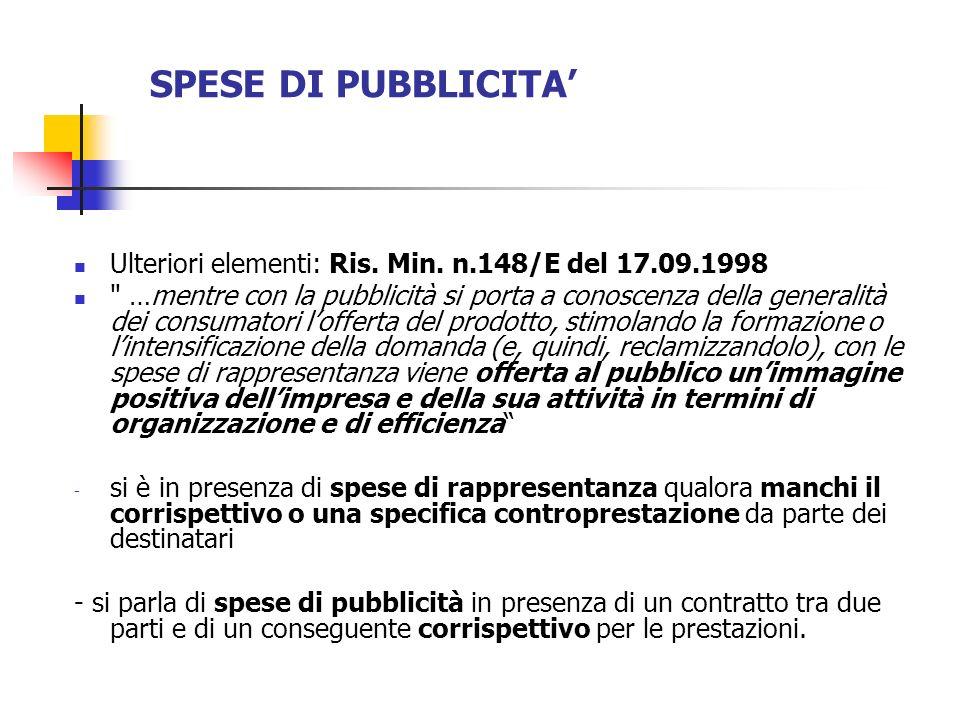 SPESE DI PUBBLICITA' Ulteriori elementi: Ris. Min. n.148/E del 17.09.1998.