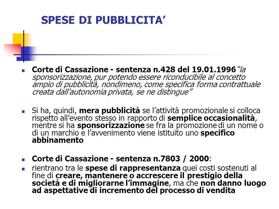 SPESE DI PUBBLICITA'