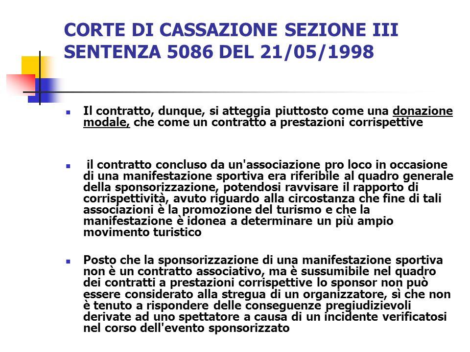 CORTE DI CASSAZIONE SEZIONE III SENTENZA 5086 DEL 21/05/1998