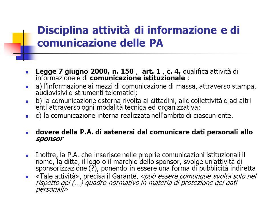 Disciplina attività di informazione e di comunicazione delle PA