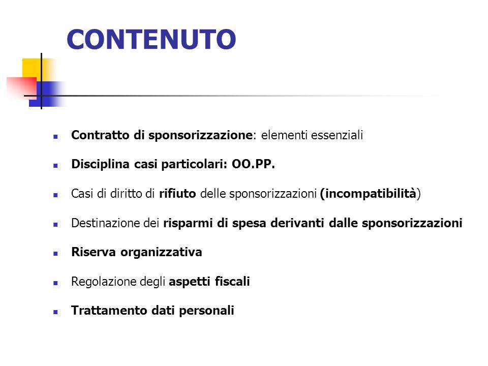 CONTENUTO Contratto di sponsorizzazione: elementi essenziali