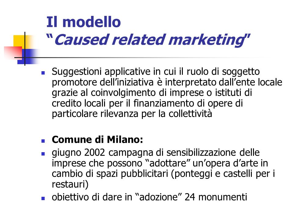 Il modello Caused related marketing