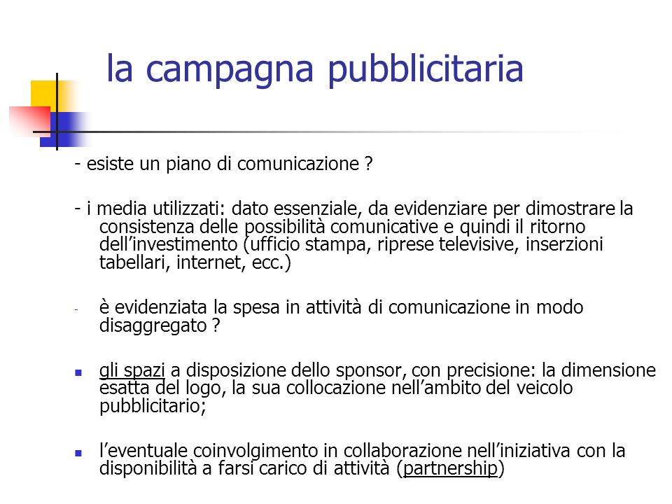 la campagna pubblicitaria