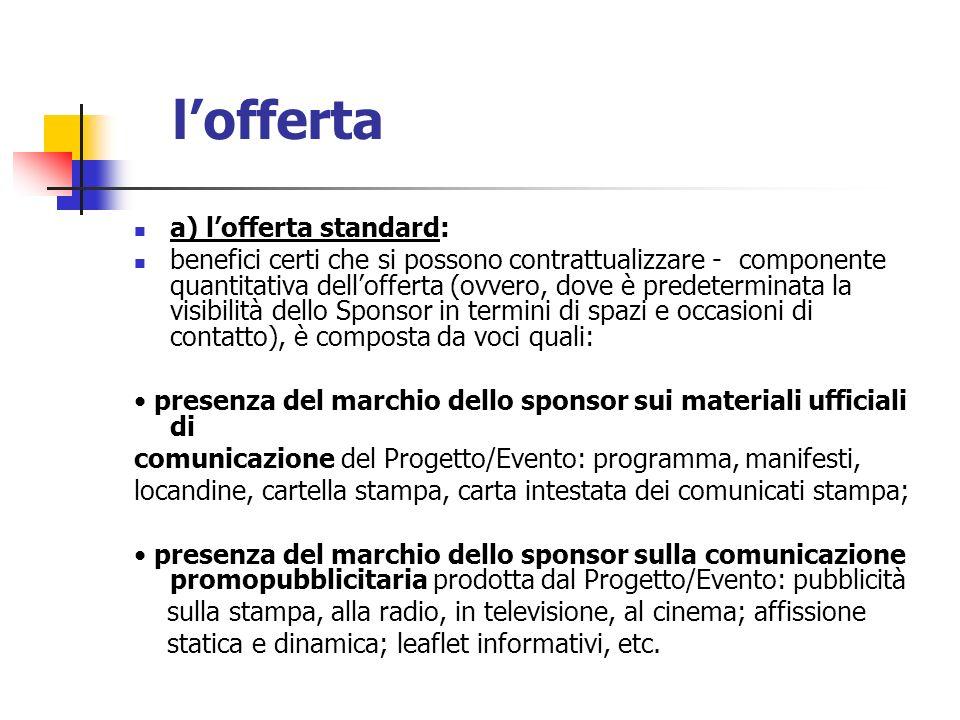 l'offerta a) l'offerta standard: