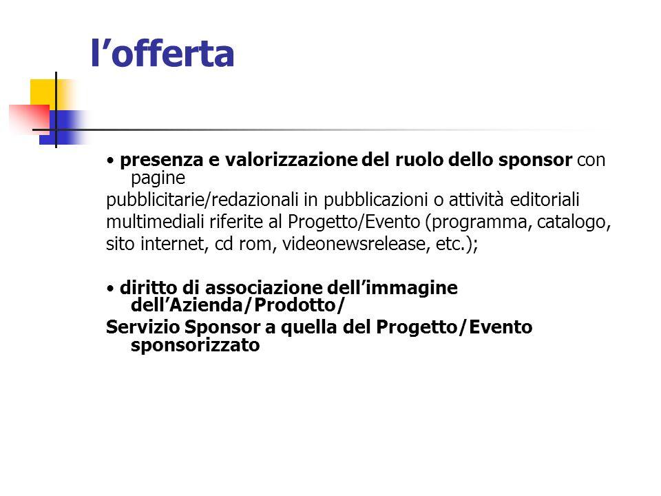 l'offerta • presenza e valorizzazione del ruolo dello sponsor con pagine. pubblicitarie/redazionali in pubblicazioni o attività editoriali.