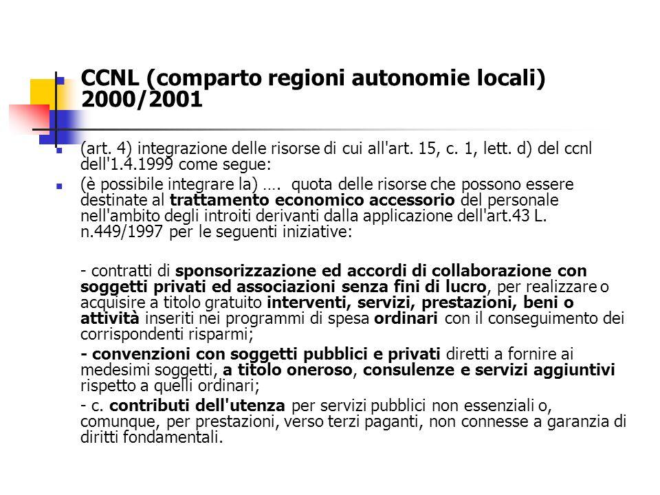 CCNL (comparto regioni autonomie locali) 2000/2001