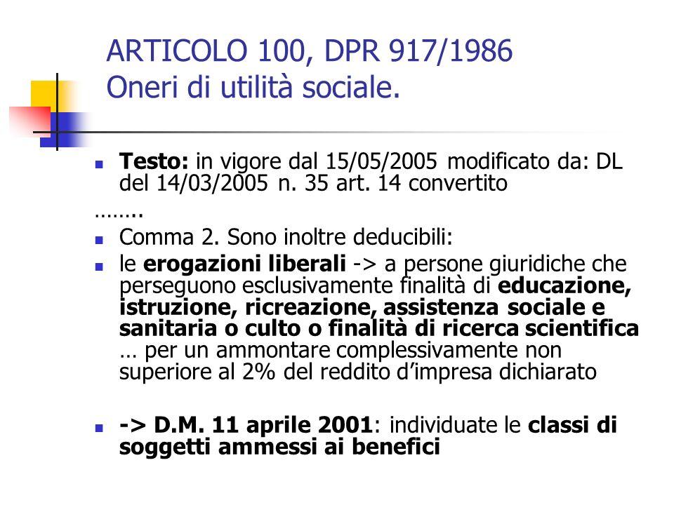 ARTICOLO 100, DPR 917/1986 Oneri di utilità sociale.