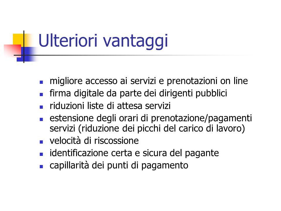 Ulteriori vantaggi migliore accesso ai servizi e prenotazioni on line