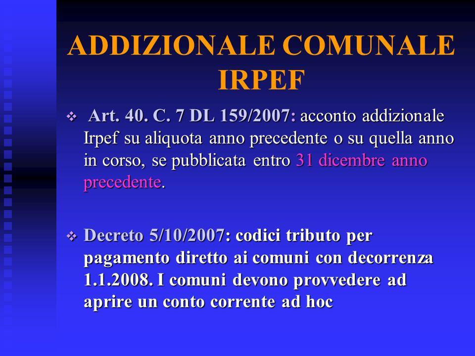 ADDIZIONALE COMUNALE IRPEF