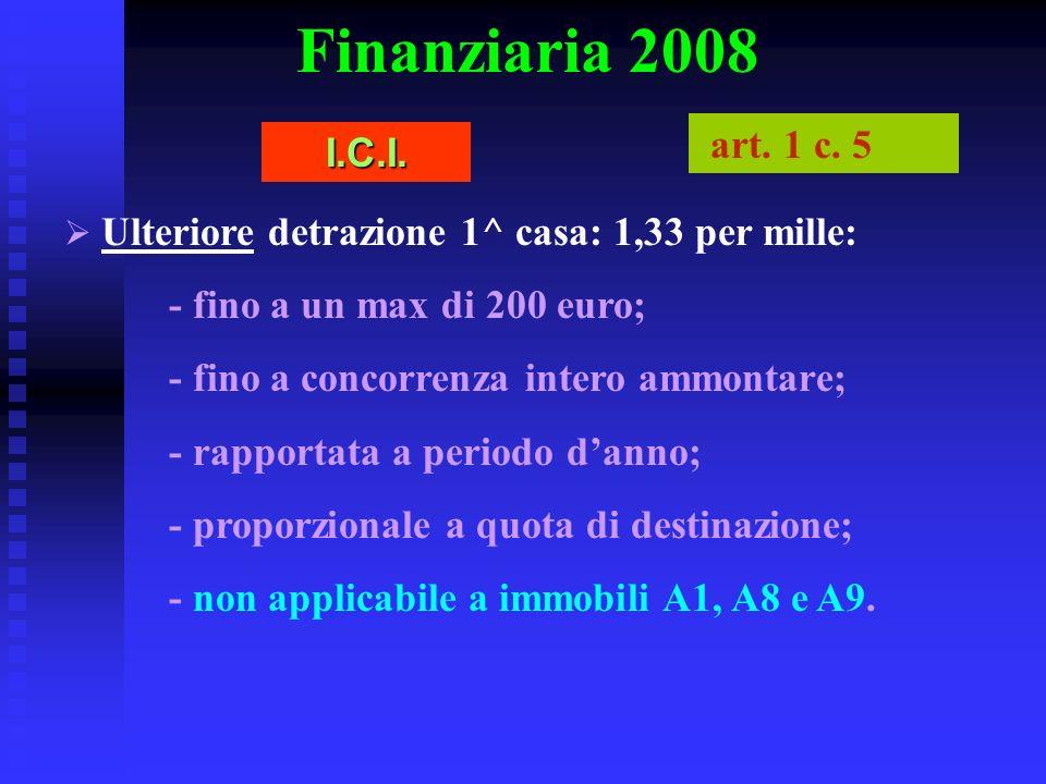 Finanziaria 2008 art. 1 c. 5 I.C.I. - fino a un max di 200 euro;