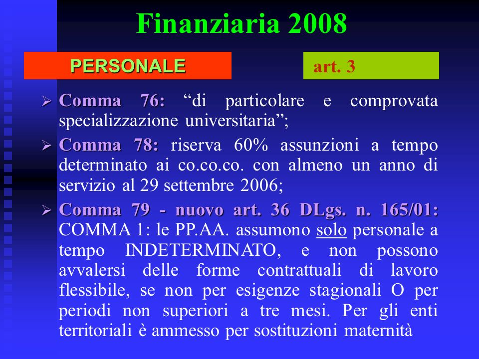 Finanziaria 2008 PERSONALE art. 3