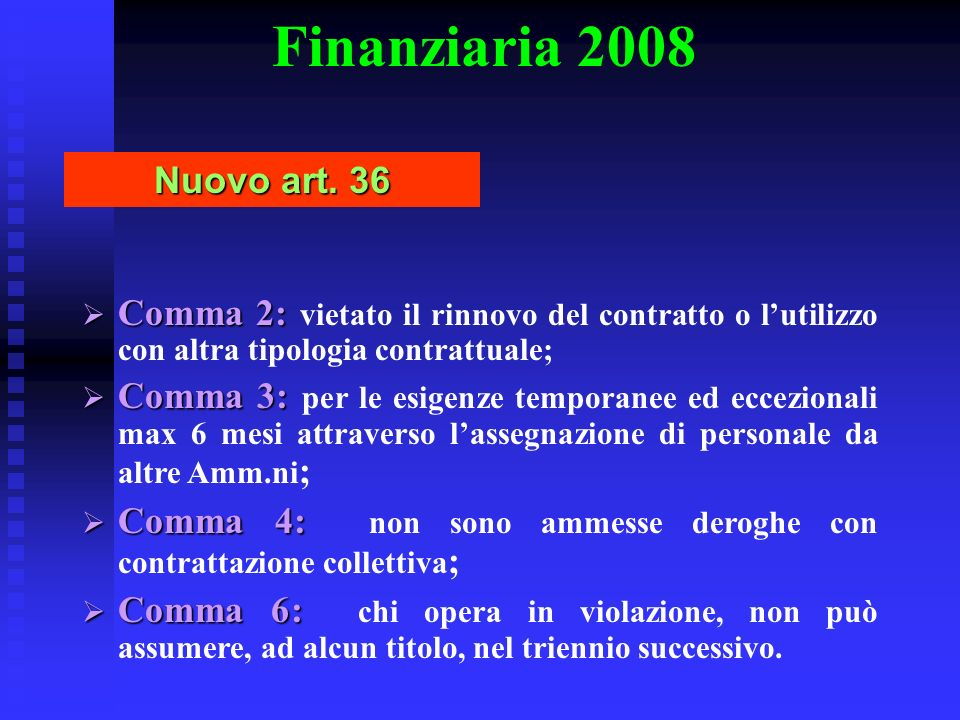 Finanziaria 2008 Nuovo art. 36. Comma 2: vietato il rinnovo del contratto o l'utilizzo con altra tipologia contrattuale;