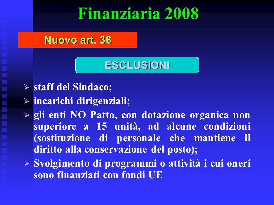 Finanziaria 2008 Nuovo art. 36 ESCLUSIONI staff del Sindaco;