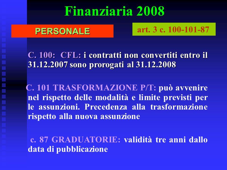 Finanziaria 2008 art. 3 c. 100-101-87 PERSONALE