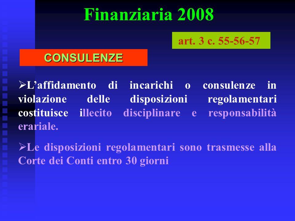 Finanziaria 2008 art. 3 c. 55-56-57 CONSULENZE