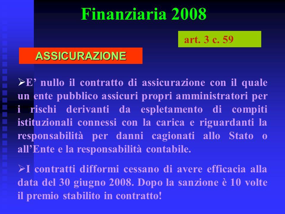 Finanziaria 2008 art. 3 c. 59 ASSICURAZIONE