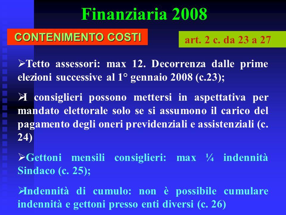 Finanziaria 2008 CONTENIMENTO COSTI art. 2 c. da 23 a 27
