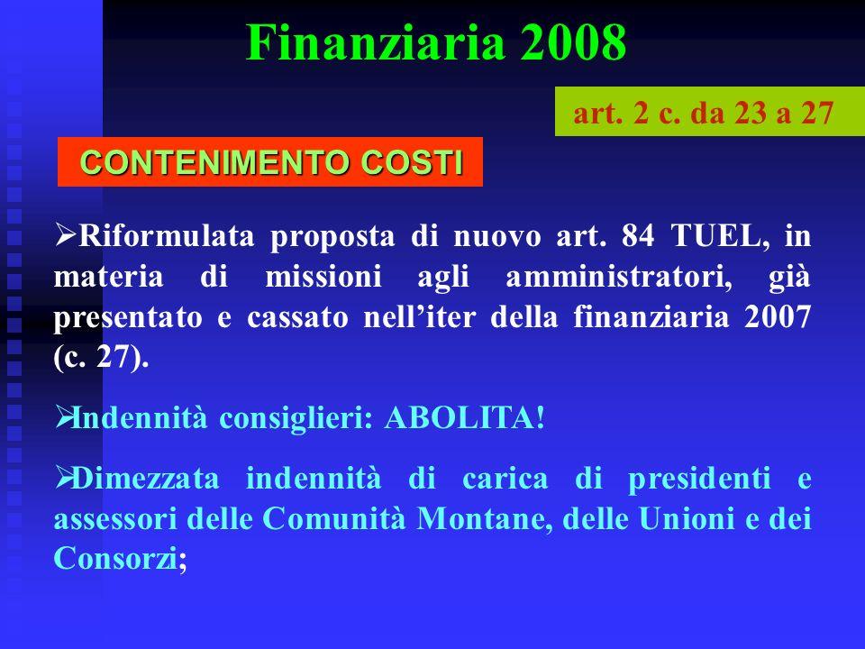 Finanziaria 2008 art. 2 c. da 23 a 27 CONTENIMENTO COSTI