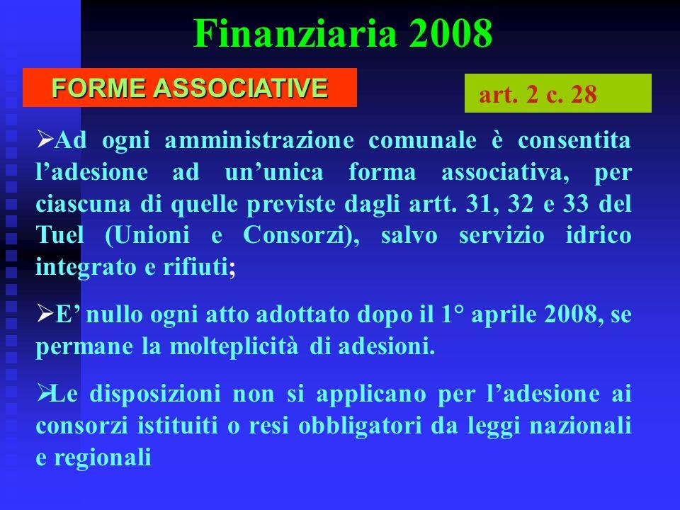Finanziaria 2008 FORME ASSOCIATIVE art. 2 c. 28